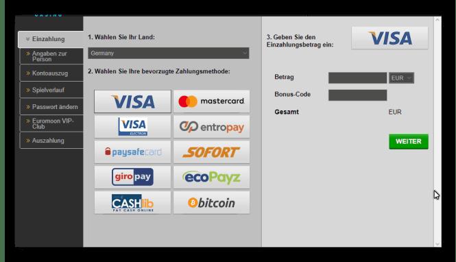 Euromoon Casino Einzahlungsmöglichkeiten