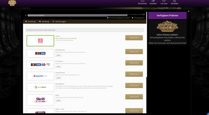 Mummys Gold Casino Kassierer Screenshot