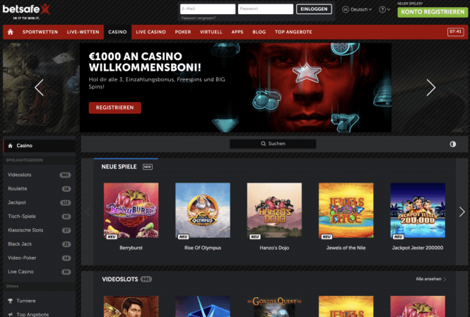 Betsafe Casino Homepage Screenshot