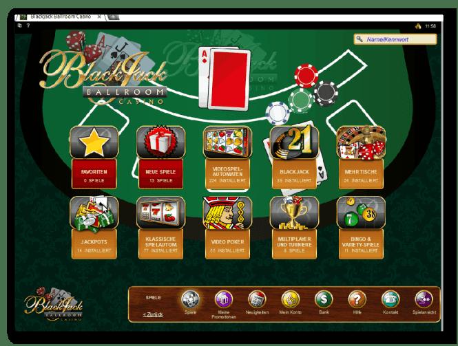 Blackjack Ballroom Casino Game Lobby Screenshot