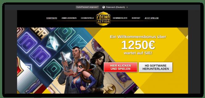 Casino Action Homepage Screenshot