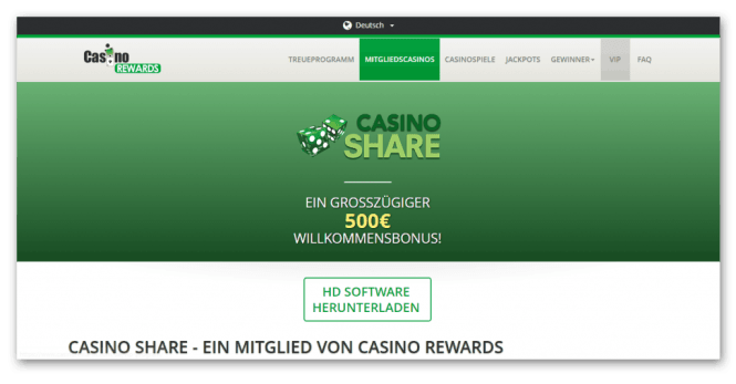 Casino Rewards - Casino Share Homepage Screenshot