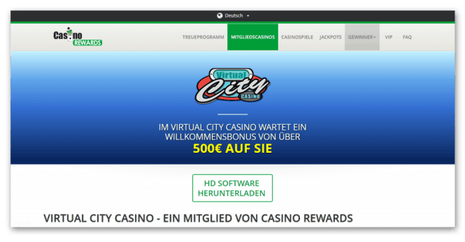 Casino Rewards - Virtual City Casino Homepage Screenshot
