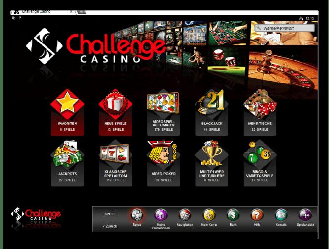 Challenge Casino Game Lobby Screenshot