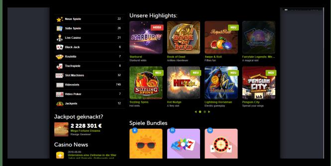 Comeon Casino Game Lobby Screenshot