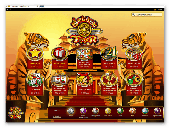 Golden Tiger Casino Game Lobby Screenshot