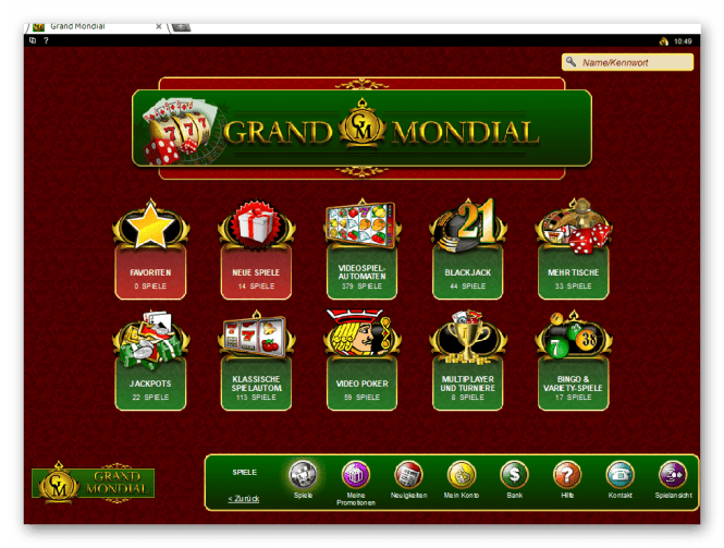 Grand Mondial Casino Game Lobby Screenshot