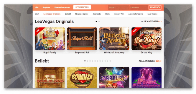 LeoVegas Casino Game Lobby Screenshot