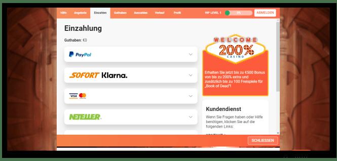 LeoVegas Casino Kassierer Screenshot