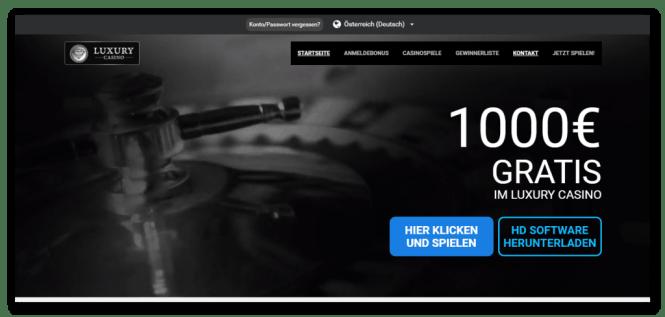 Luxury Casino Homepage Screenshot
