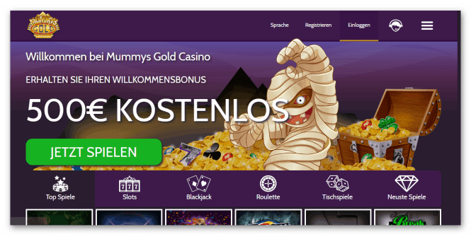 Mummys Gold Casino Homepage Screenshot