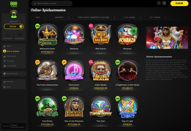 888 Casino Game Lobby Screenshot