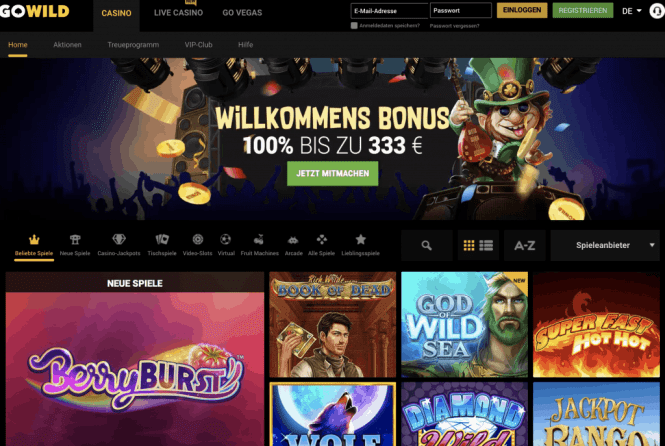 GoWild Casino Homepage Screenshot