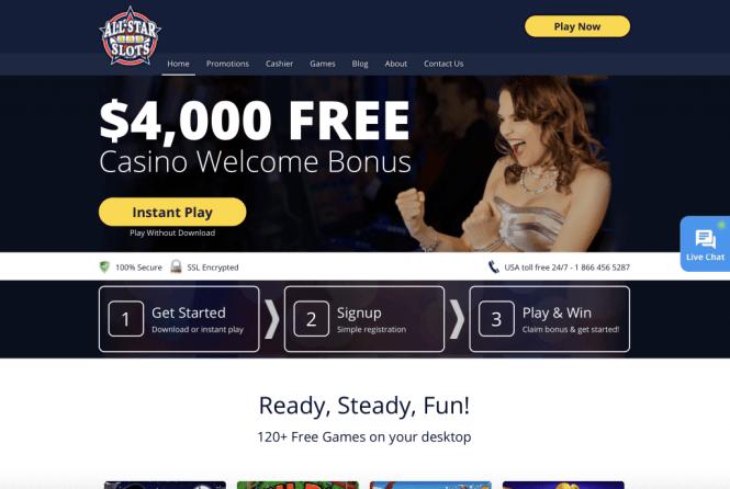 All Star Slots Casino Homepage Screenshot