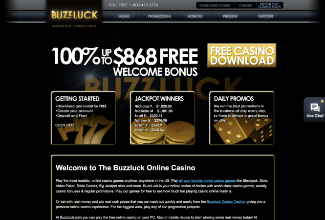 Buzzluck Casino Homepage Screenshot