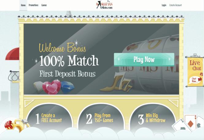 Manhattan Slots Casino Homepage Screenshot