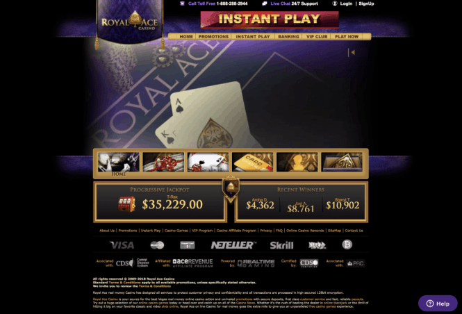 Royal Ace Casino Homepage Screenshot