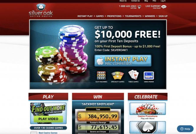 Silver Oak Casino Homepage Screenshot