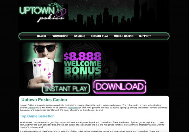 Uptown Pokies Casino Homepage Screenshot