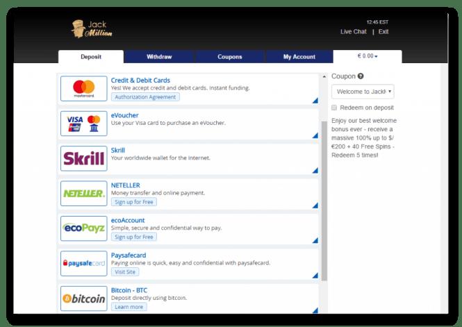 Jack Million Casino Kassierer Screenshot