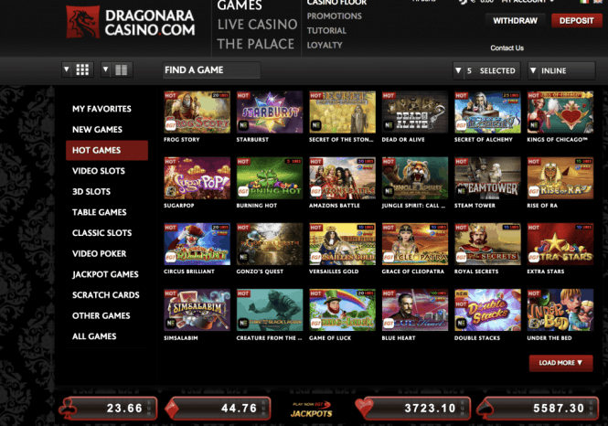 Dragonara Casino Game Lobby Screenshot