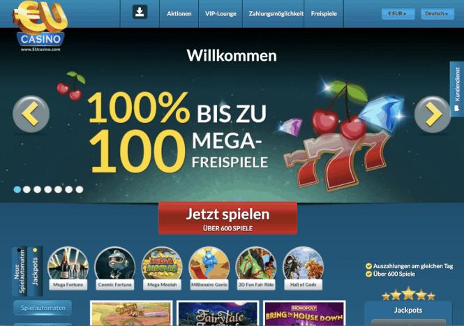 EU Casino Homepage Screenshot