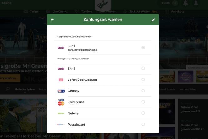 Mr Green Kassierer Screenshot