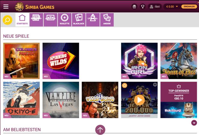 Simba Games Casino Game Lobby Screenshot