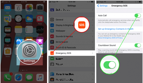 Activate emergency SOS on iphone