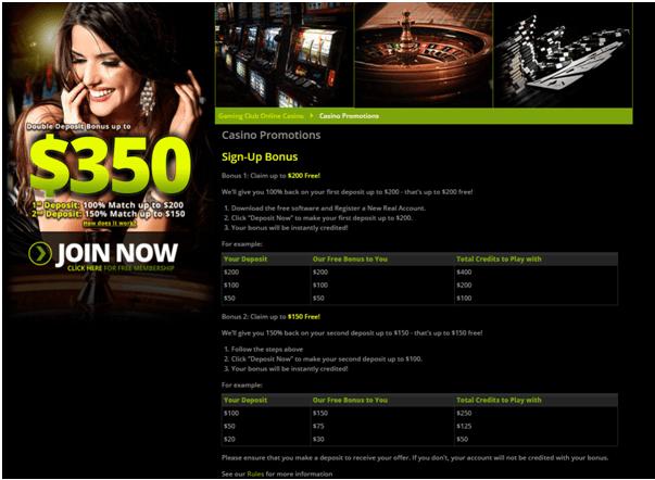 Gaming Club Casino Canada- Bonuses to redeem