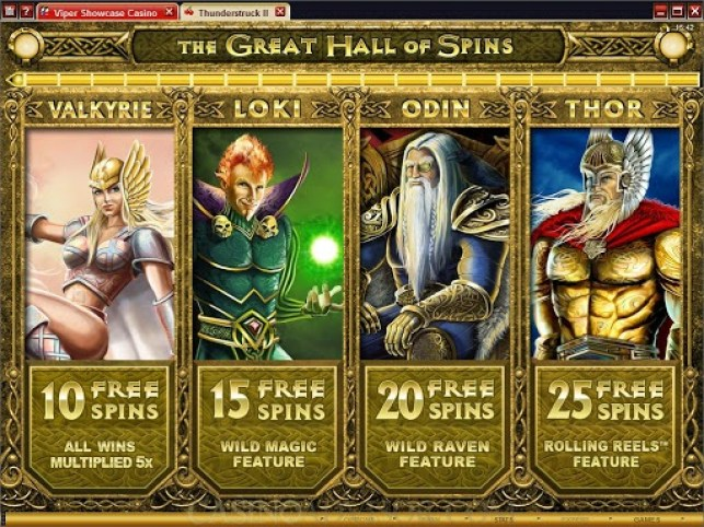 Great Hall of Spins feature in best online slot Thunderstruck II