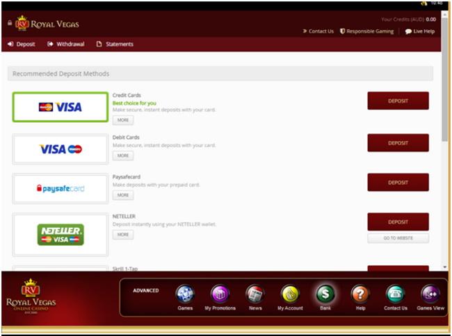 Royal Vegas Banking System