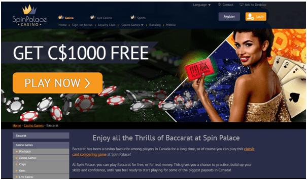 Spin Palace Canada- Play Free Baccarat