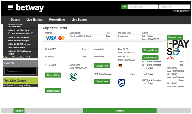 Deposits at Betway