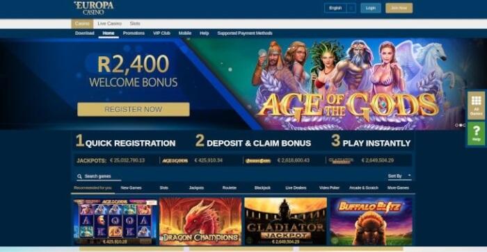Europa Casino Welcome bonus in Rand
