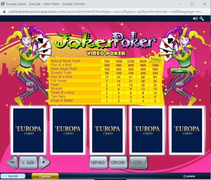 Poker games at Europa Casino