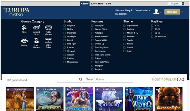 Europa Casino- Variety of casino games to play