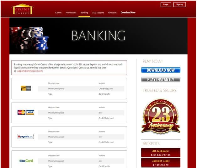 Omni Casino Banking in Rand