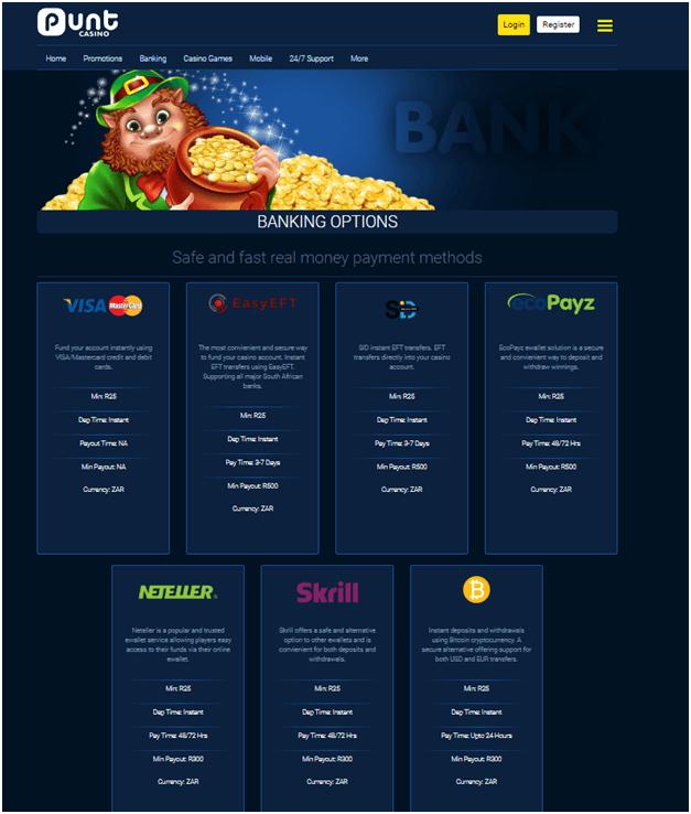 Punt casino Banking
