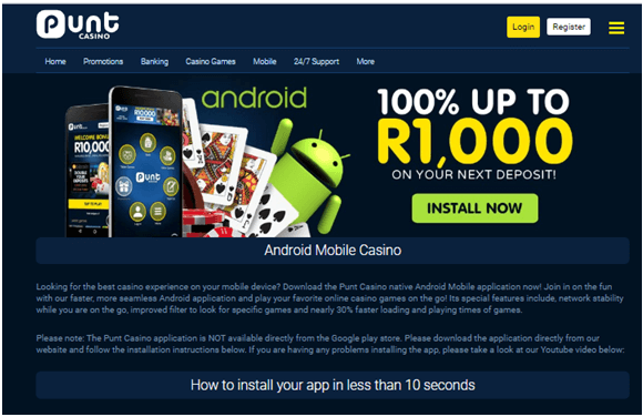 Punt casino mobile