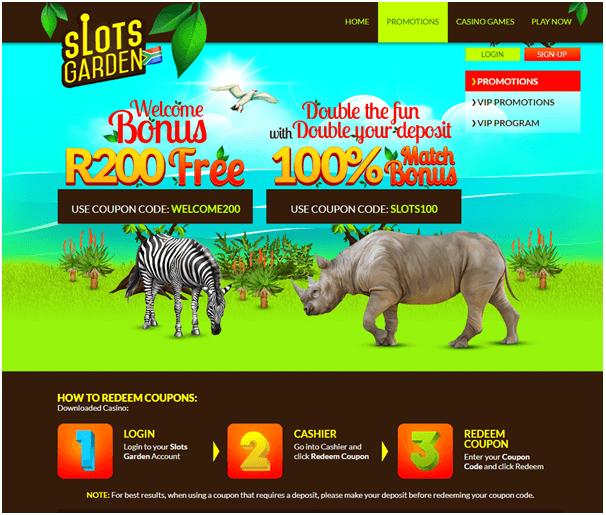 Slots Garden casino offers free R200
