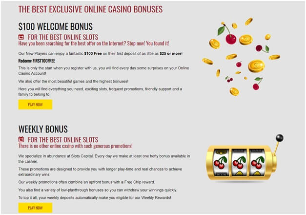 Bonuses and Promotions at Slots capital