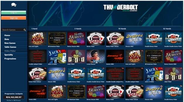 Videopoker variations at Thudnerbolt casino