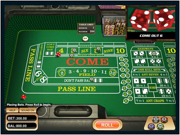 Types of bets at casino craps