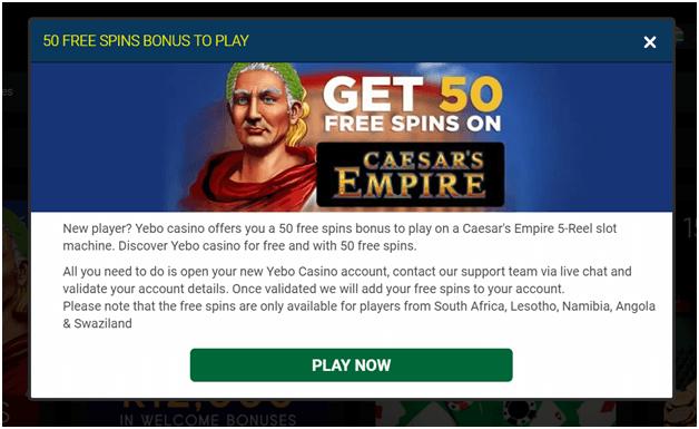 Yebo Casino No Deposit bonus