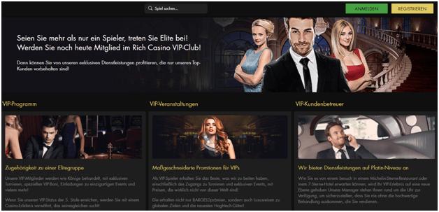 Der VIP-Club im Rich Casino bietet Spielern eine Tier-Mitgliedschaft