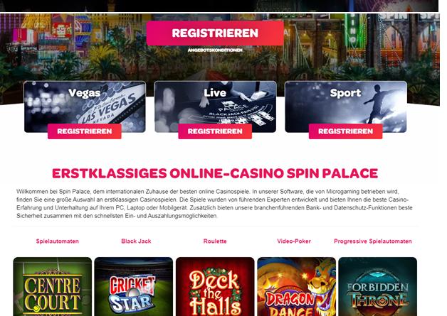 Spin Casino für Online-Slots, Live-Spiele und Sportwetten