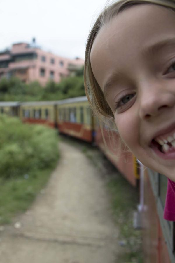 Child smiling on the Himalayan Queen train