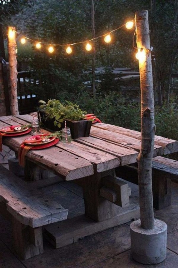 how to hang string lights in the backyard