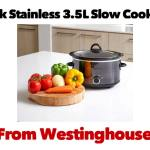 Westinghouse Black Stainless 3.5L Slow Cooker